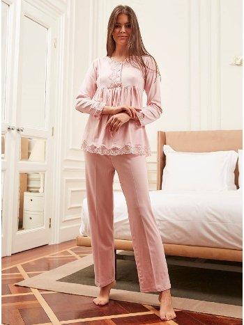 Bone Club 4810 Yaka Dantel Pijama Takımı