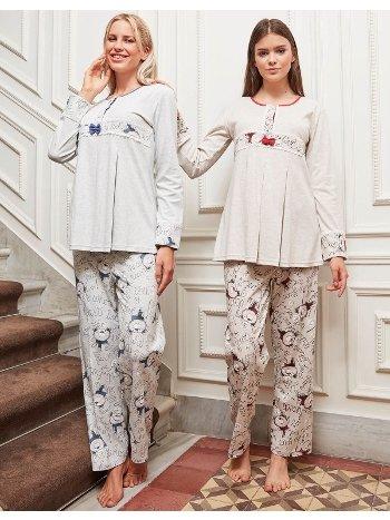 Bone Club 4814 Ayıcıklı Hamile ve Lohusa Pijama Takımı
