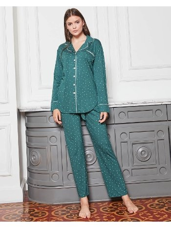 Bone Club 4830 Puanlı Likra Boydan Düğmeli Pijama Takımı