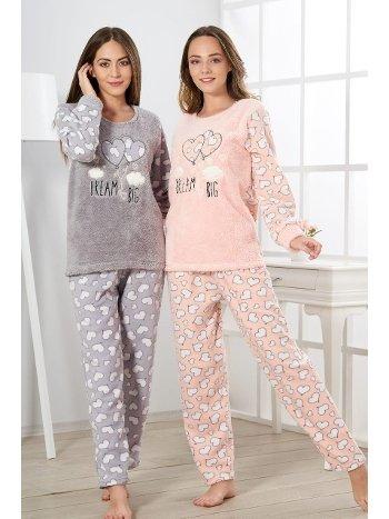 Estiva Kadın Welsoft Kalpli Pijama Takımı 19348
