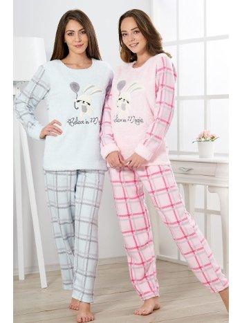 Estiva Kadın Welsoft Kareli Pijama Takımı 19340