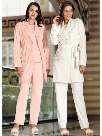 Fantasy 1018 Yaprak Dantel Sabahlıklı Pijama Takımı