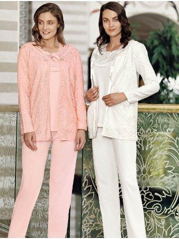Fantasy 1059 Puket Dantel Sabahlıklı Pijama Takımı