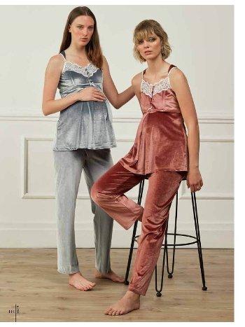 Feyza 3503 Kadife Hamile ve Lohusa Pijama Takımı