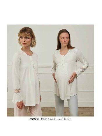 Feyza 3565 3lü Hamile ve Lohusa Pijama Takımı