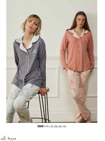 Feyza 3569 Önü Düğmeli Pijama Takımı
