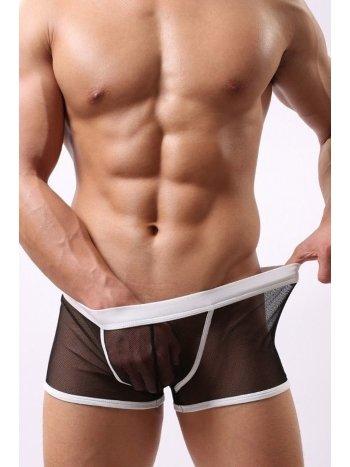 Merry See Erkek Siyah Beyaz Transparan Boxer