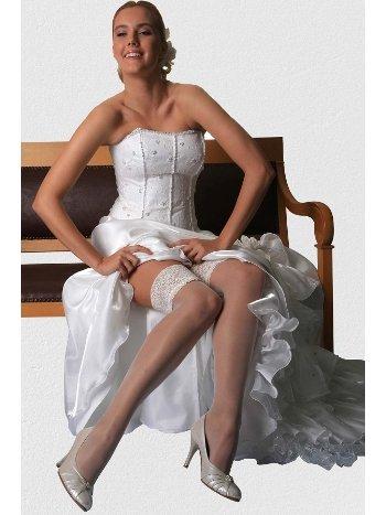 Mite Love Beyaz Düz Silikonlu Dantelli Jartiyer Çorap