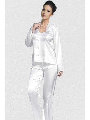 Mite Love Beyaz Gecelik Saten Pijamalı Takım