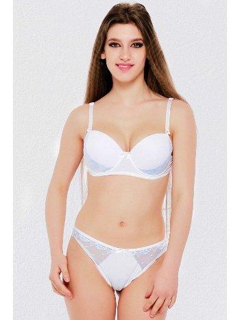 Mite Love Beyaz Sütyen Külot Takımı Dolgu Destekli ML2273