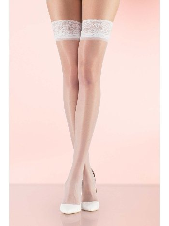 Mite Love Fit 15 Dantelli Silikonsuz Jartiyer Çorabı Beyaz