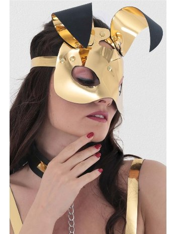 Mite Love Gold Deri Tavşan Kız Fantazi Maske