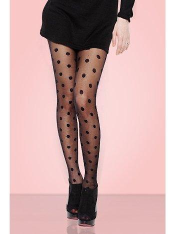 Mite Love iri Puantiyeli Külotlu Çorap Siyah