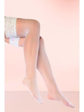 Mite Love Jartiyer Çorabı Beyaz File Dantelli Silikonlu