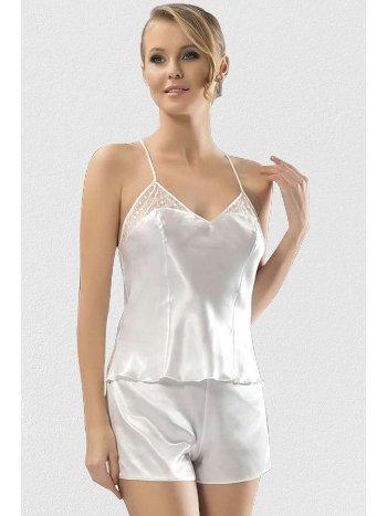 Mite Love Kadın iç Giyim Saten Şortlu Takım Beyaz