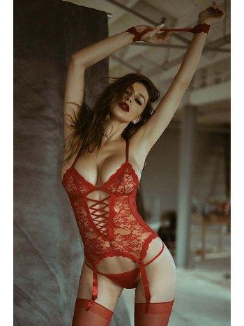 Mite Love Kelepçeli Kırmızı Jartiyer Takımları