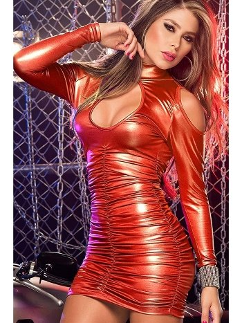 Mite Love Lame Düz Mini Elbise Fantazi Giyim Kırmızı