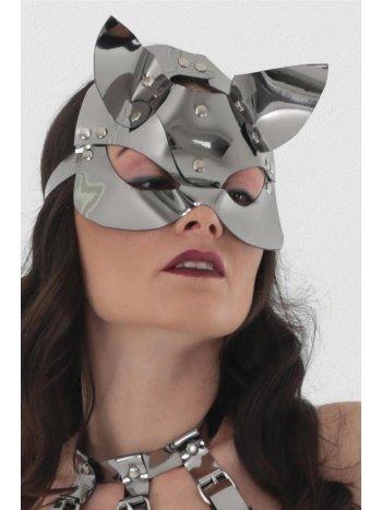 Mite Love Silver Deri Kedi Kız Fantazi Maske