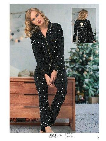 NBB 66610 Puantiyeli Düğmeli Pijama Takım