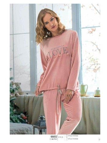 NBB 66612 Love Baskılı Kadife Pijama Takım