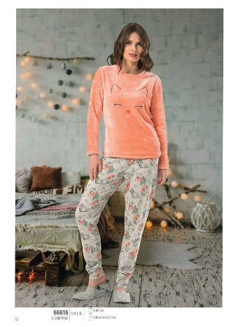 NBB 66616 Kadife Bayan Pijama Takım