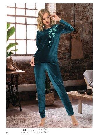 Nbb 66617 Bayan Kadife Pijama Takım
