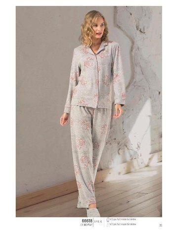 NBB 66618 Önden Düğmeli Bayan Pijama Takım
