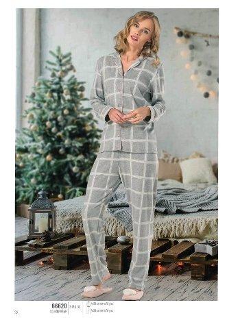 NBB 66620 Düğmeli Kareli Gri Bayan Pijama Takım