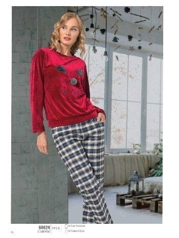 NBB 66624 Geyikli Kadife Pijama Takım