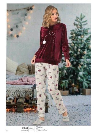 NBB 66644 Tavşanlı Kadife Pijama Takım