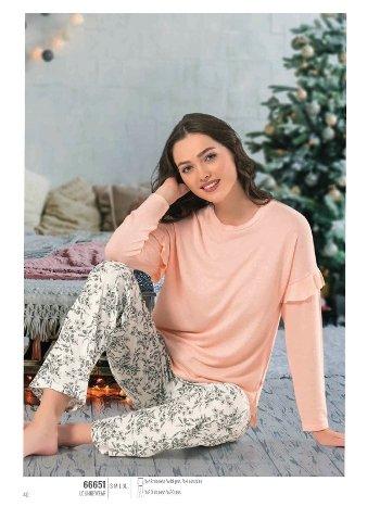 NBB 66651 Bayan Sıfır Yaka Pijama Takım