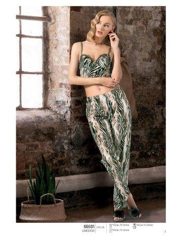 NBB Leopar Desenli Büstiyerli Kadın Pijama Takımı 66601