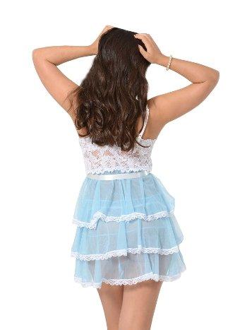 Sistina 686 Dantelli Mavi Beyaz Askılı Fantazi Gecelik