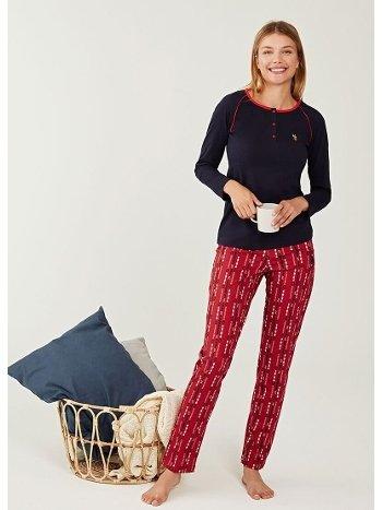 US Polo 16257-2 Patlı Pijama Takımı