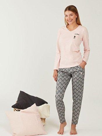 US Polo 16261 V Yaka Pijama Takımı