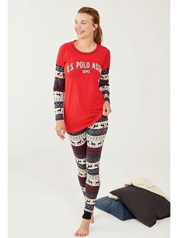 US Polo 16278-2 Yuvarlak Yaka Kırmızı Pijama Takımı