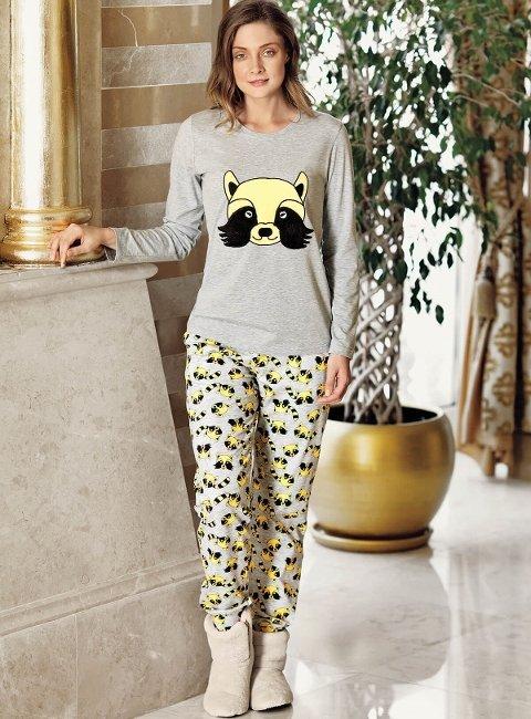 Fantasy 1063 Rakun Baskılı Pijama Takımı