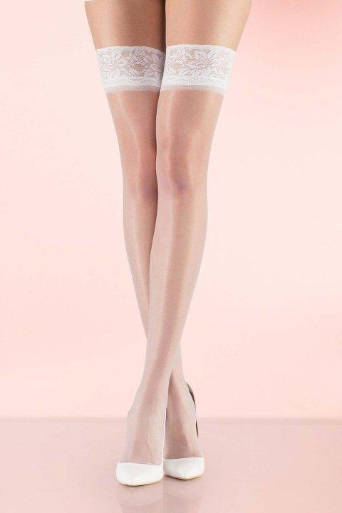 Jartiyer Çorap Mite Love Fit 15 Dantelli Silikonsuz Jartiyer Çorabı Beyaz