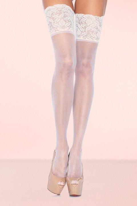 Jartiyer Çorap Mite Love Geniş Dantelli Jartiyer Çorabı Beyaz