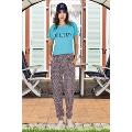 Lady Kısa Kollu Tişört Bayan Şalvarlı Pijama Takım 10016