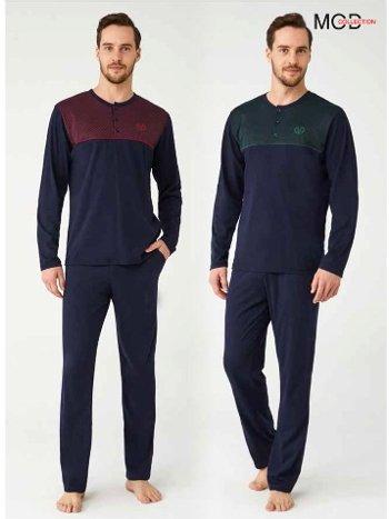 %100 Pamuk Erkek Pijama Takım Mod Collection 3343