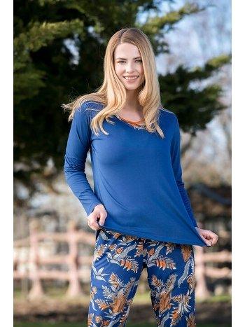 2'li İndigo Viskon Kadın Pijama Takımı Yeni İnci BPJ1582