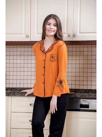 2li Viskon Düğmeli Kadın Pijama Takımı Yeni İnci BPJ1574