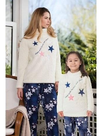 2'li Viskon Polar Kız Çocuk Pijama Takımı Yeni İnci CKP344