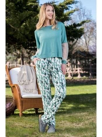 2'li Yeşil Viskon Kadın Pijama Takımı Yeni İnci BPJ1590