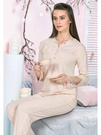 3 Düğmeli Dantel Güpürlü Kışlık Pijama Takım FLZ 89-456