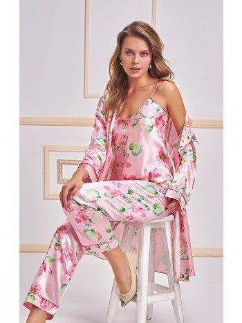 3 lü Saten Pijama Takımı Nurteks 5957