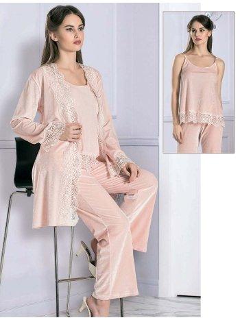 3lü Askılı Sabahlıklı Pijama Takımı FLZ 31-351