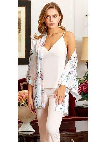 3'lü Askılı Saten Çiçekli Pijama Takım Jeremi 3176