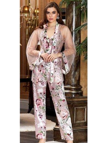 3'lü Desenli Saten Pijama Takım Jeremi 3053